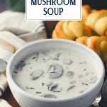 Front shot of a bowl of creamy mushroom soup with text title overlay