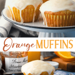 Long collage image of Orange Muffins