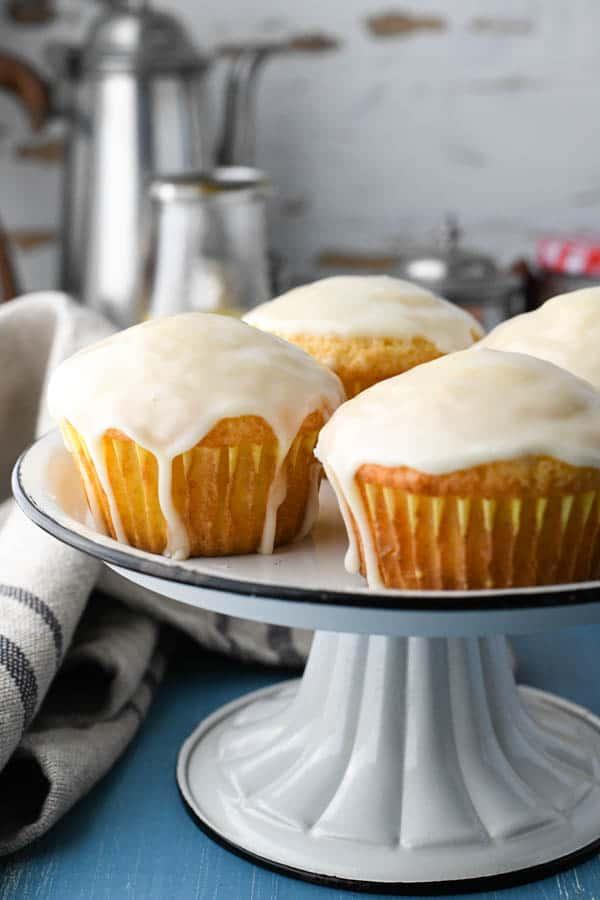Serving tray of fresh orange muffins