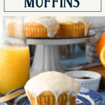 Orange muffin with orange glaze on a blue and white plate with text title box at top