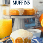 Orange muffin on a plate with text title overlay