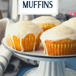 Front shot of Orange muffins with text title overlay