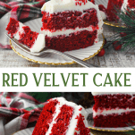 Long collage of Southern Red Velvet Cake recipe