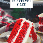 Red velvet cake on a plate with text title overlay