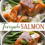 Long collage image of Teriyaki Salmon