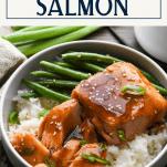 Teriyaki salmon bowl with text title box at top