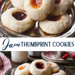 Long collage image of jam thumbprint cookies