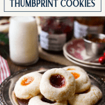Platter of classic thumbprint cookies with a text title box at the top