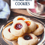 Plate of jam thumbprints with text title overlay