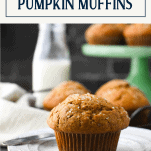 Pumpkin applesauce muffin on a plate with text title box at top