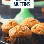 Front shot of a tray of applesauce pumpkin muffins with text title overlay