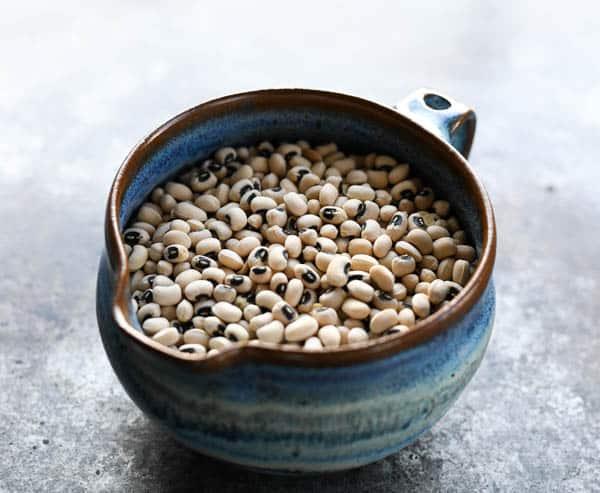 Bowl of dried black eyed peas