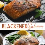 Long collage image of Blackened Salmon