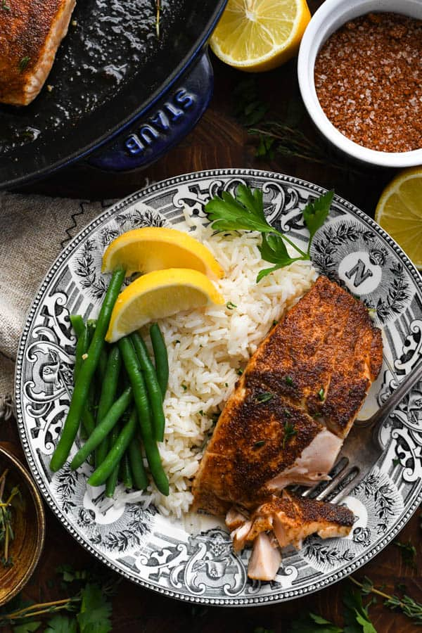 Overhead shot of a plate of the best blackened salmon recipe
