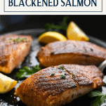 Piece of healthy blackened salmon with text title box at the top
