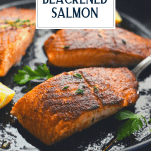 The best blackened salmon recipe in a cast iron skillet with text title overlay