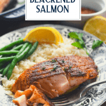 Plate of healthy blackened salmon with text title overlay