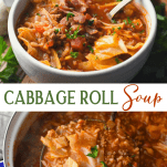 Long collage image of cabbage roll soup