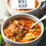 Bowl of unstuffed cabbage roll soup with text title overlay