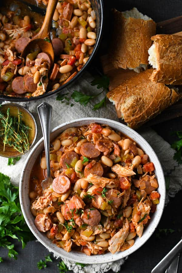 Overhead shot of a bowl of French cassoulet