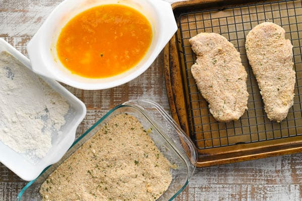 Overhead shot of easy chicken parmesan recipe ingredients