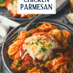 Fork in a bowl of easy chicken parmesan and pasta with text title overlay