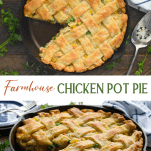 Long collage image of Homemade Chicken Pot Pie