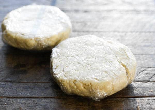 Process shot showing how to make chicken pot pie crust