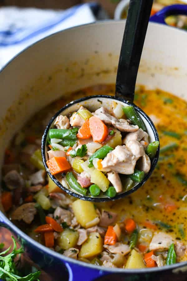 Ladle scooping up chicken stew from a pot