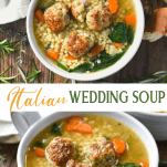 Long collage image of Italian Wedding Soup