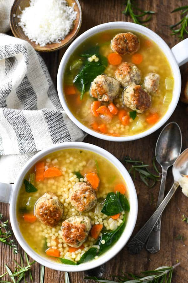 Close overhead image of the best Italian Wedding Soup in two white bowls