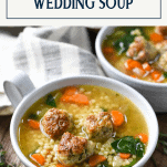 Close up side shot of a bowl of Italian Wedding Soup with Text title box at top