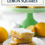 Plate full of a stack of easy lemon squares with text title box at top