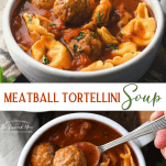 Long collage image of mini meatball soup with tortellini