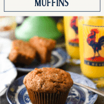 Homemade morning glory muffin on a plate with text title box at the top