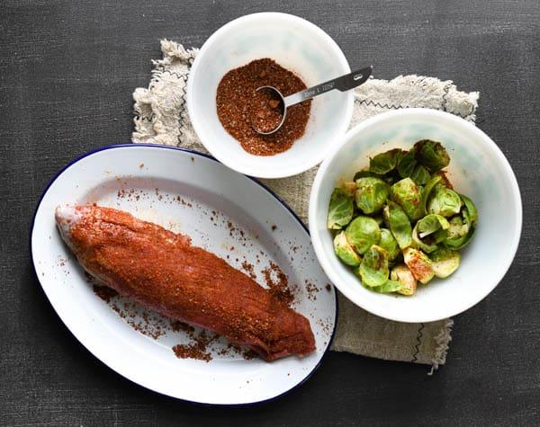 Process shot showing how to bake pork tenderloin