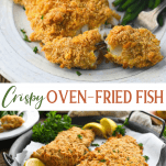 Long collage of Oven Fried Fish recipe
