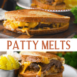 Long collage image of Patty Melt sandwiches