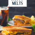 Patty melt on a cutting board with text title overlay