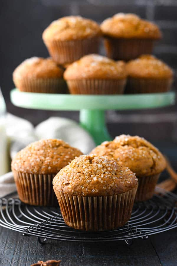 Front shot of the best applesauce muffin recipe cooling on a wire rack