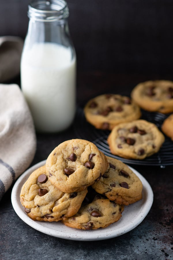 Plate of homemade chocolate chip cookies