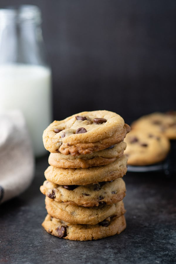 Stack of thick soft chocolate chip cookies