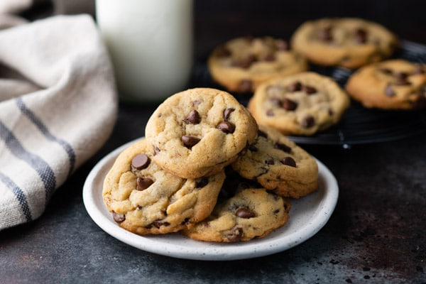 Horizontal image of a plate of homemade chocolate chip cookies