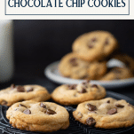 The best chocolate chip cookie recipe on a cooling rack with text title box at top