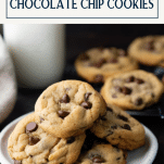 Plate of homemade chocolate chip cookies with text title box at top