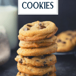 Stack of thick soft chocolate chip cookies with text title overlay