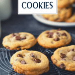 Classic chocolate chip cookie recipe on a cooling rack with text title overlay
