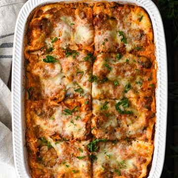 Overhead shot of the best vegetable lasagna recipe in a white dish