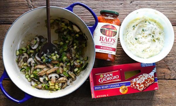 Ingredients for easy vegetable lasagna recipe