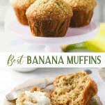 Long collage image of easy banana muffins
